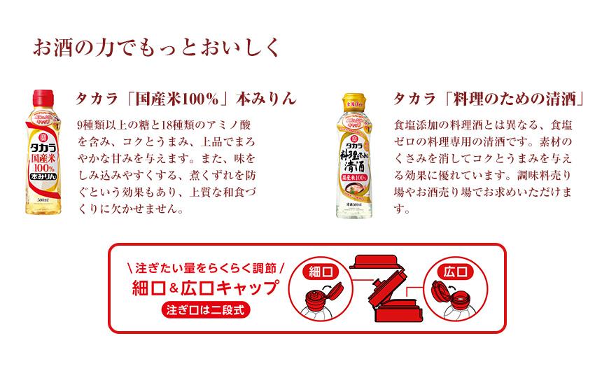お酒の力でもっとおいしくタカラ「国産米100%」本みりん9種類以上の糖と18種類のアミノ酸を含み、コクとうまみ、上品でまろやかな甘みを与えます。また、味をしみ込みやすくする、煮くずれを防ぐという効果もあり、上質な和食づくりに欠かせません。タカラ「料理のための清酒」食塩添加の料理酒とは異なる、食塩ゼロの料理専用の清酒です。素材のくさみを消してコクとうまみを与える効果に優れています。調味料売り場やお酒売り場でお求めいただけます。