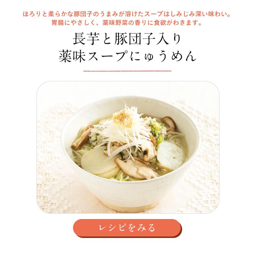 ほろりと柔らかな豚団子のうまみが溶けたスープはしみじみ深い味わい。胃腸にやさしく、薬味野菜の香りに食欲がわきます。長芋と豚団子入り 薬味スープにゅうめん