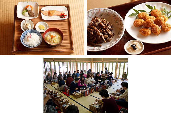 長野県農村文化協会常任委員・池田玲子さんの「食べごとの文化」の訓話を拝聴しながら、箱膳(自分専用の食器を収納する箱型のお膳)で昼食。ご飯とみそ汁、さけのあんかけ、野菜の吹き寄せ煮、白和え、香の物に加え、「取り回し」と呼ばれる大皿盛りのむじなだんご、干しなすのみそ炒め、甘味のおなっと。