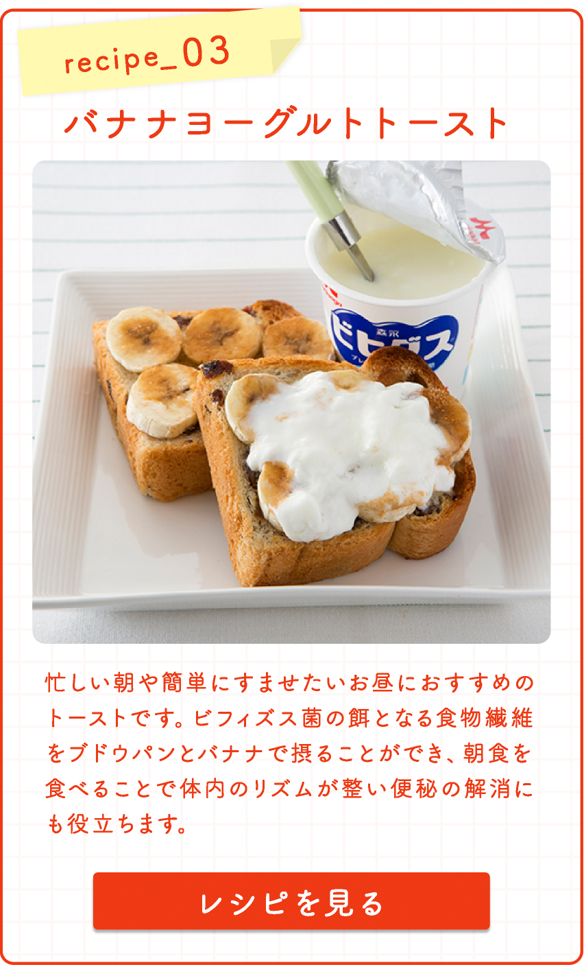 recipe_3 バナナヨーグルトトースト  忙しい朝や簡単にすませたいお昼におすすめのトーストです。ビフィズス菌の餌となる食物繊維をブドウパンとバナナで摂ることができ、朝食を食べることで体内のリズムが整い便秘の解消にも役立ちます。