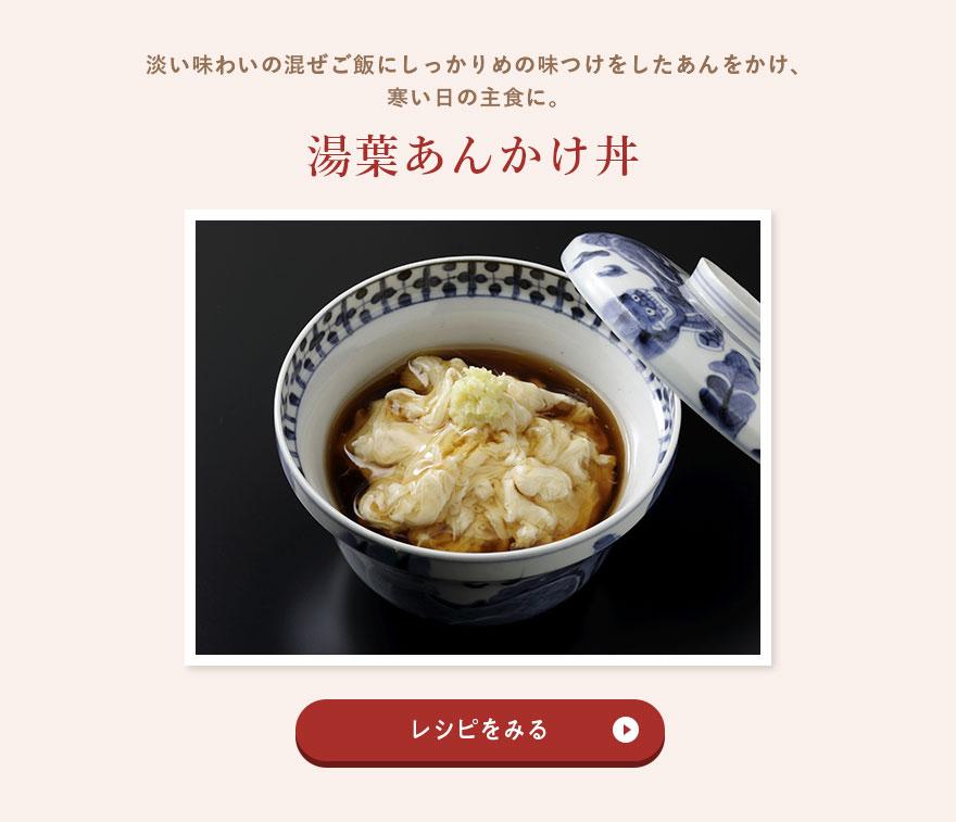 淡い味わいの混ぜご飯にしっかりめの味つけをしたあんをかけ、寒い日の主食に。湯葉あんかけ丼のレシピをみる