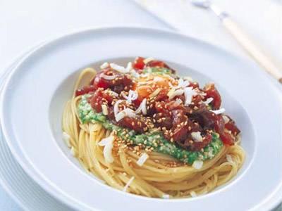 たたきオクラとかつおのパスタ レシピ 山根 大助さん|【みんなのきょうの料理】おいしいレシピや献立を探そう