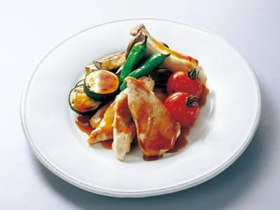 ささ身と夏野菜の焼き物