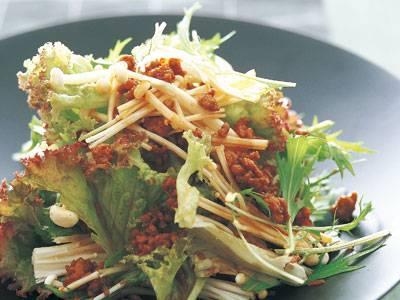 えのきと肉そぼろのホットサラダ レシピ 河野 雅子さん 【みんなのきょうの料理】おいしいレシピや献立を探そう