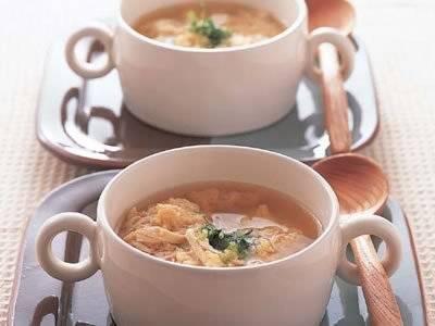 生パン粉と卵のチキンスープ