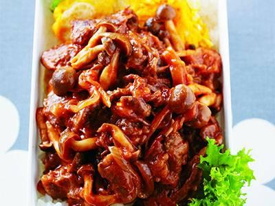 牛肉ときのこのオムハヤシ丼弁当
