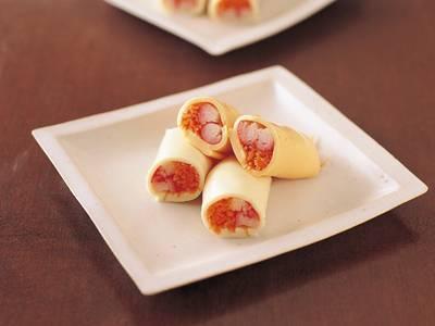 かにかまとにんじんのチーズ巻き
