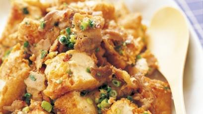 【今日の料理】【今日の料理】ちぎり厚揚げと豚バラの和風炒め