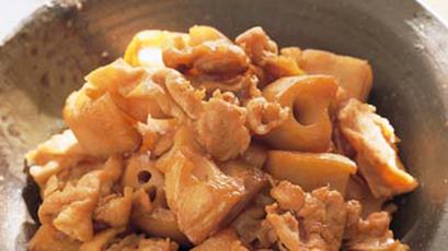 【今日の料理】【今日の料理】豚肉とれんこんの炒め煮
