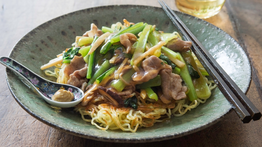 豚肉と小松菜のあんかけ焼きそば レシピ 栗原 はるみさん