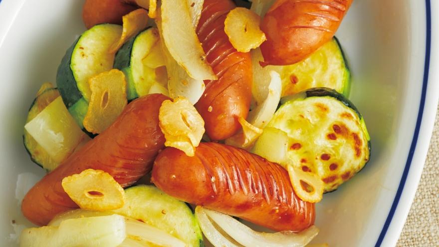 ソーセージとズッキーニのサッと炒め レシピ 河野 雅子さん|【みんなのきょうの料理】おいしいレシピや献立を探そう