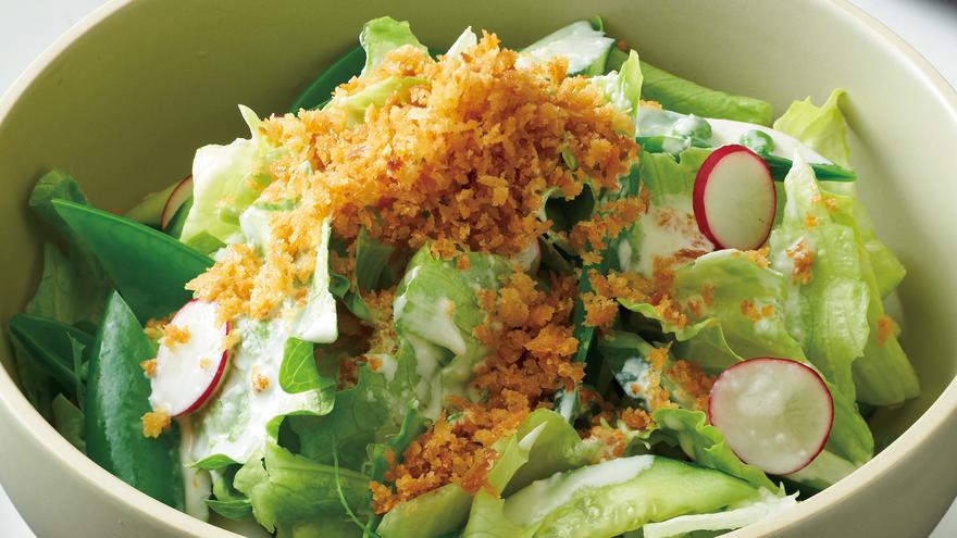 カリカリパン粉のグリーンサラダ レシピ 山本 麗子さん|【みんなのきょうの料理】おいしいレシピや献立を探そう