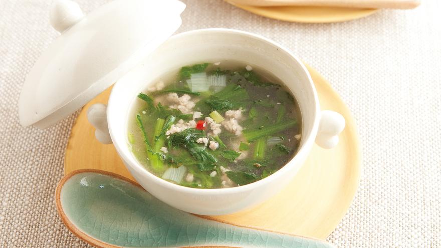 春菊と鶏ひき肉のスープ レシピ 高城 順子さん|【みんなのきょうの料理】おいしいレシピや献立を探そう