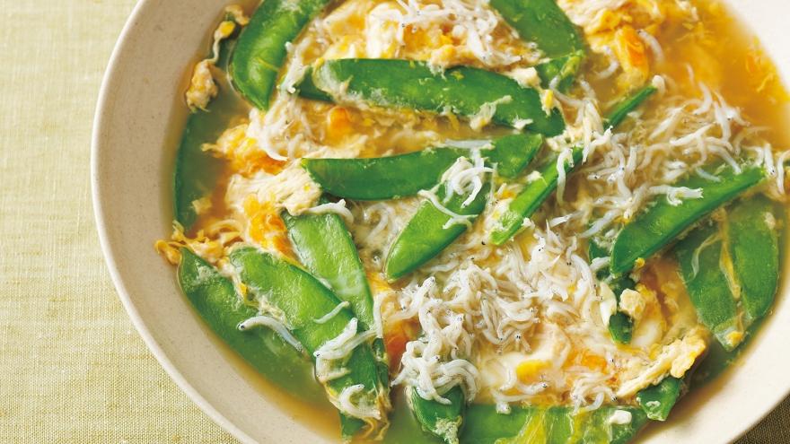 【今日の料理】【今日の料理】絹さやとしらすの卵とじ
