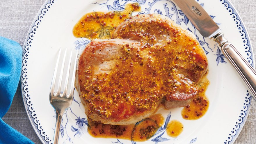 【今日の料理】【今日の料理】ポークソテー 粒マスタードソース